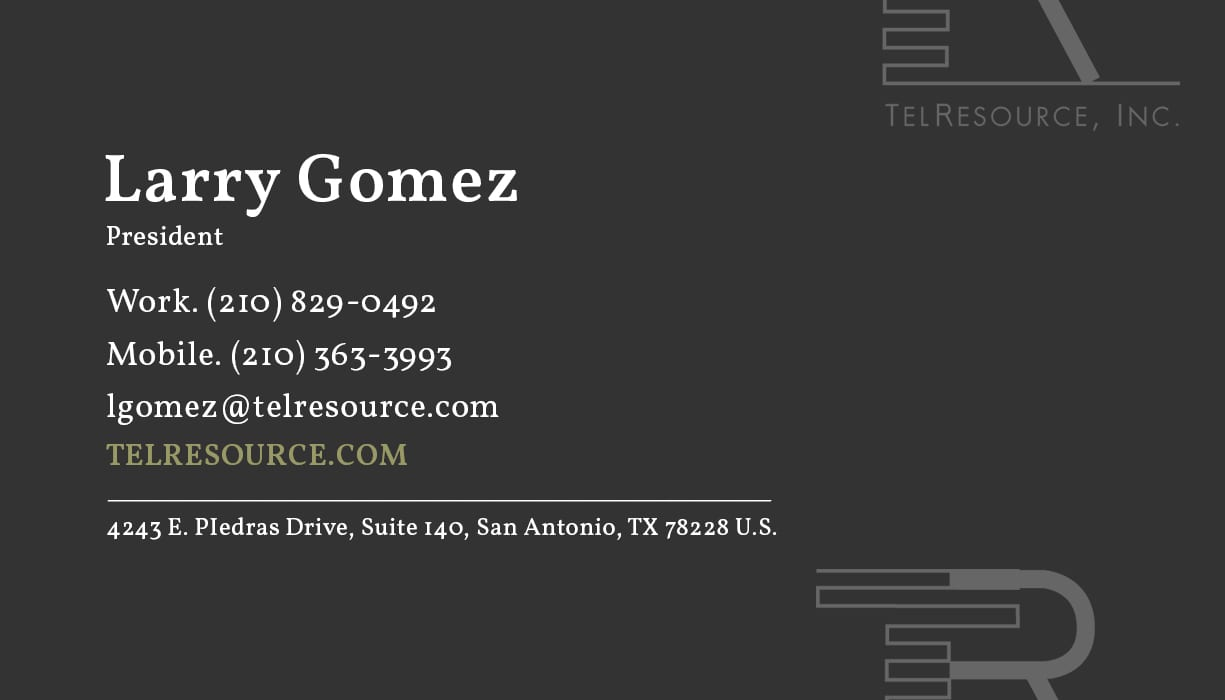 Larry Gomez TelResources Business Card Design